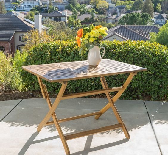 wood folding table for a terrace