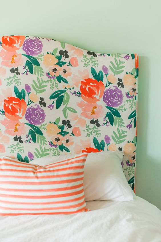 cheerful watercolor floral headboard in orange and purple