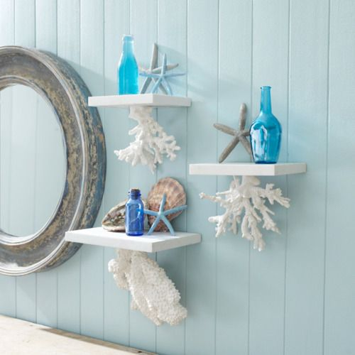coral hanging shelves with sea decor