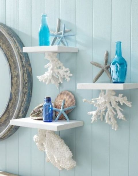 coral shelves with starfish will make your bathroom sea-inspired