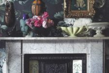 18 dark floral wallpaper on the fireplace wall to make an accent