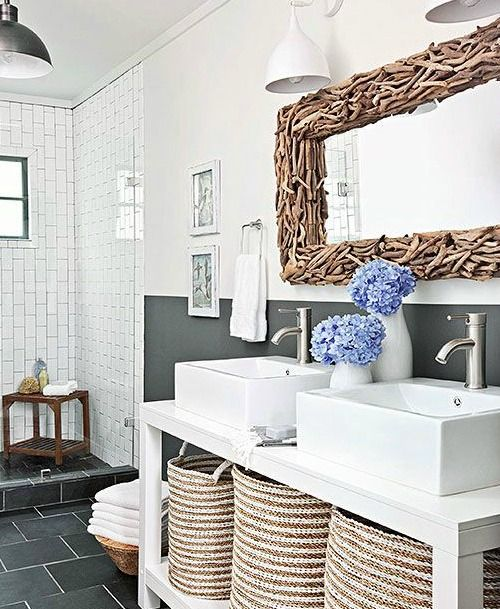 driftwood bathroom mirror frame can be handmade to give your bathroom a coastal look