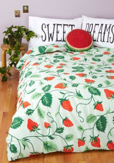 strawberry print duvet and bold matching pillows