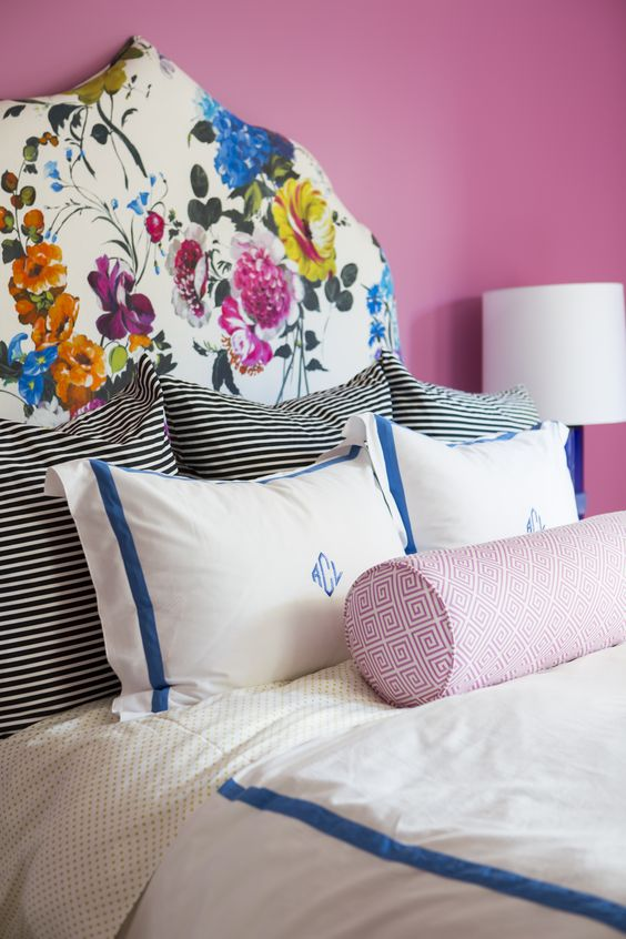 creamy upholstered headboard with a realistic flower print