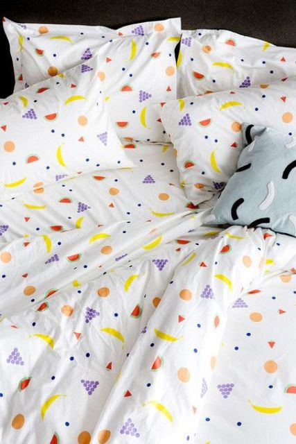 stylized fruit print bedding in different shades