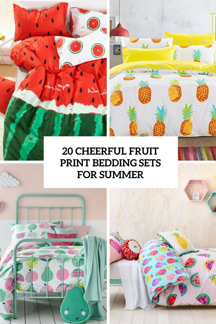 cheerful fruit print bedding sets for summer cover