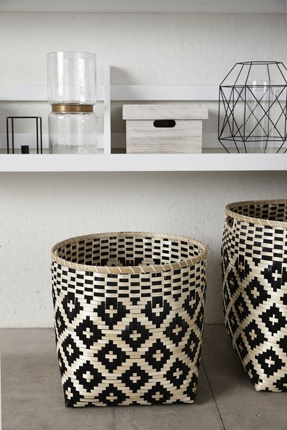 earthy patterned baskets for clean towels to maximize bathroom storage