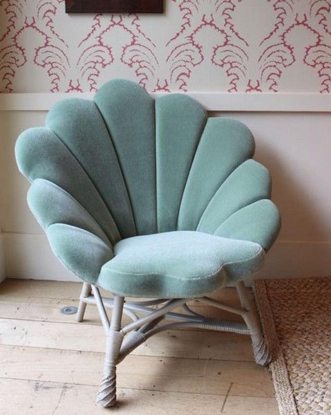 gorgeous aqua-colored shell chair is what every mermaid needs