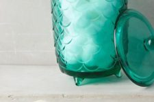 20 scallop bathroom containers and holders in shades of green