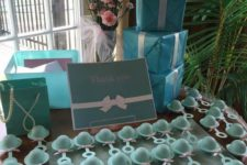 20 turquoise rattle baby shower favors