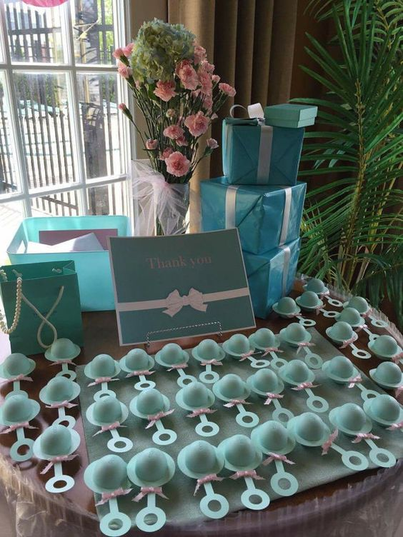 turquoise rattle baby shower favors