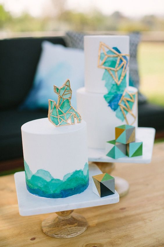 geometric cake decor and geo glass toppers in turquoise