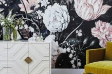 21 oversized moody floral wallpaper with large scale white and blush flowers