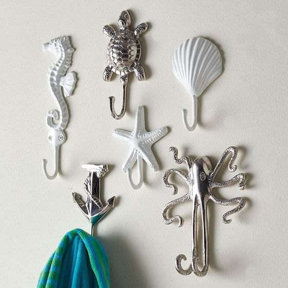 sea reature towel hooks are an easy and cheap idea to add an ocean flavor to the decor