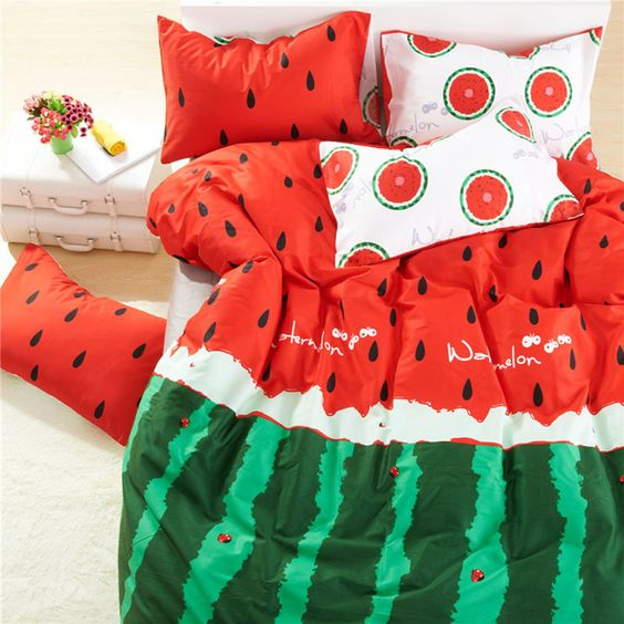 watermelon-styled bedding with green and red parts