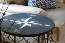 DIY coastal compass table