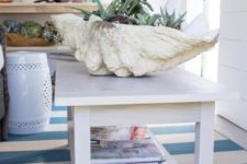 DIY whitewashed coffee table for a coastal interior
