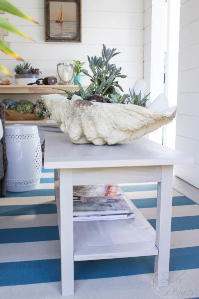DIY whitewashed coffee table for a coastal interior (via www.findingsilverpennies.com)