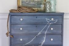 DIY blue whale dresser makeover