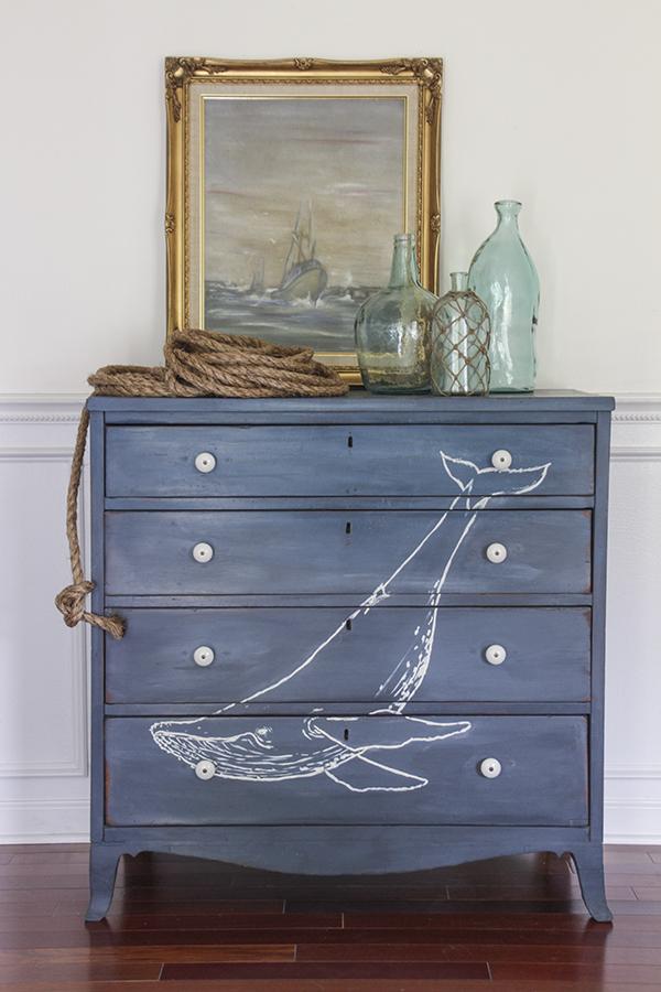 DIY blue whale dresser makeover (via www.shadesofblueinteriors.com)