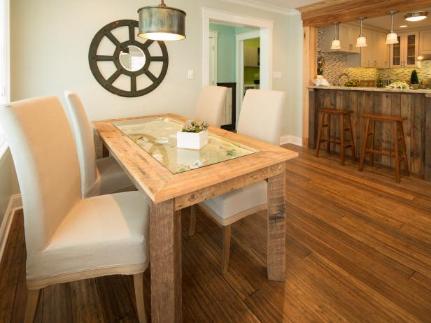 DIY rustic dining table (via www.diynetwork.com)