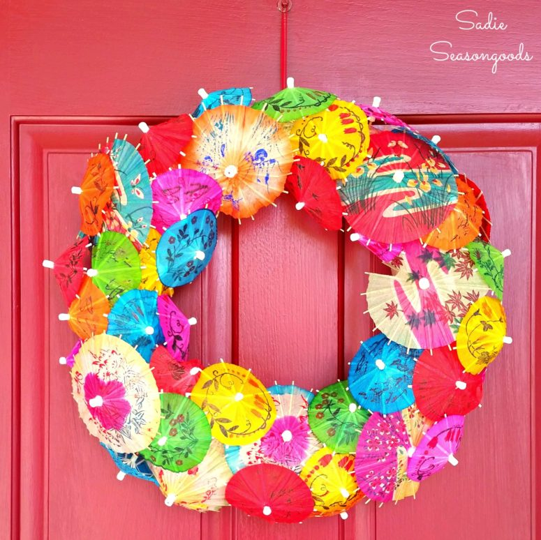 DIY cocktail umbrella wreath (via www.sadieseasongoods.com)