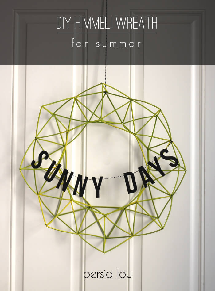 DIY geo summer wreath with a banner (via persialou.com)