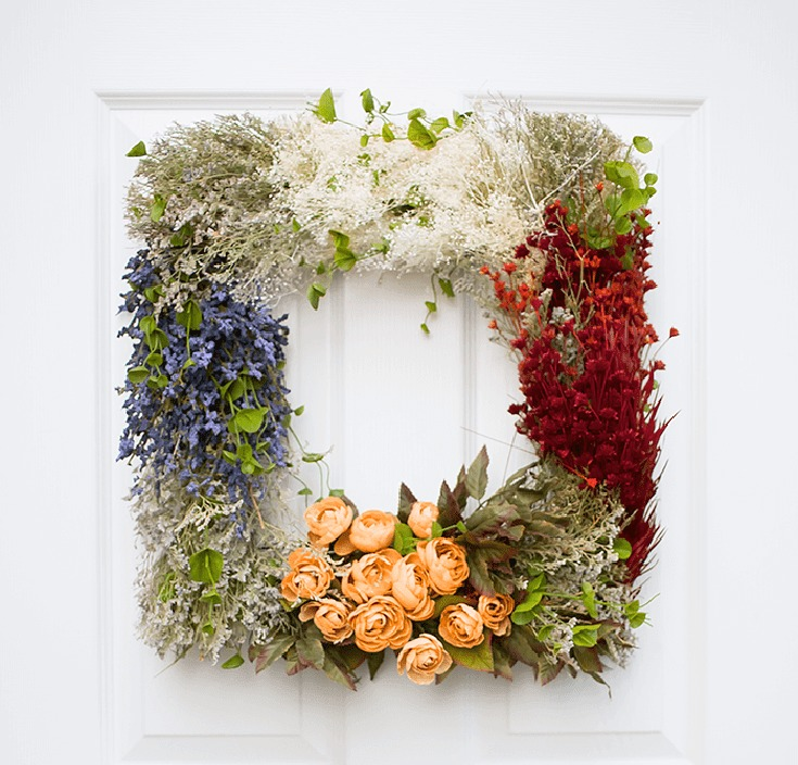 DIY vintage floral wreath with sections (via https:)