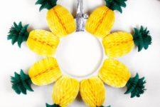 DIY honeycomb pineapple wreath