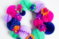 DIY bold fiesta honeycomb wreath