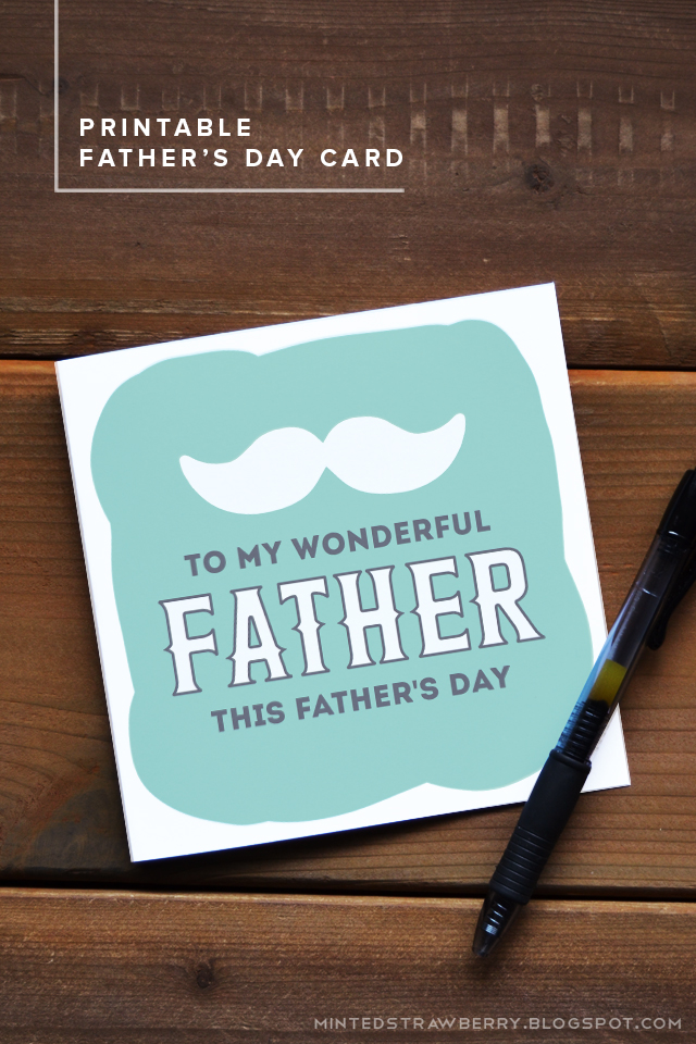 DIY free printable mint card with a moustache for Father's Day (via mintedstrawberry.blogspot.ru)