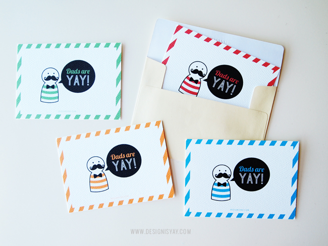 DIY free printable 'Dads are YAY' cards (via www.designisyay.com)
