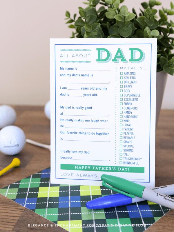 DIY free printable Father's Day card to fill in the blanks (via www.eleganceandenchantment.com)