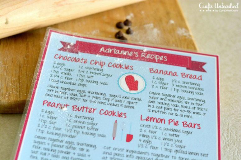 DIY laminated recipe cards (via blog.consumercrafts.com)