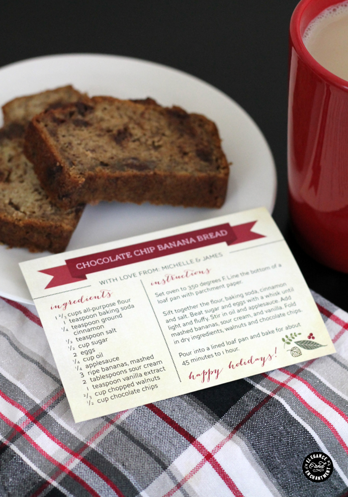 DIY recipe cards as gift tags for foodie gifts (via www.eleganceandenchantment.com)