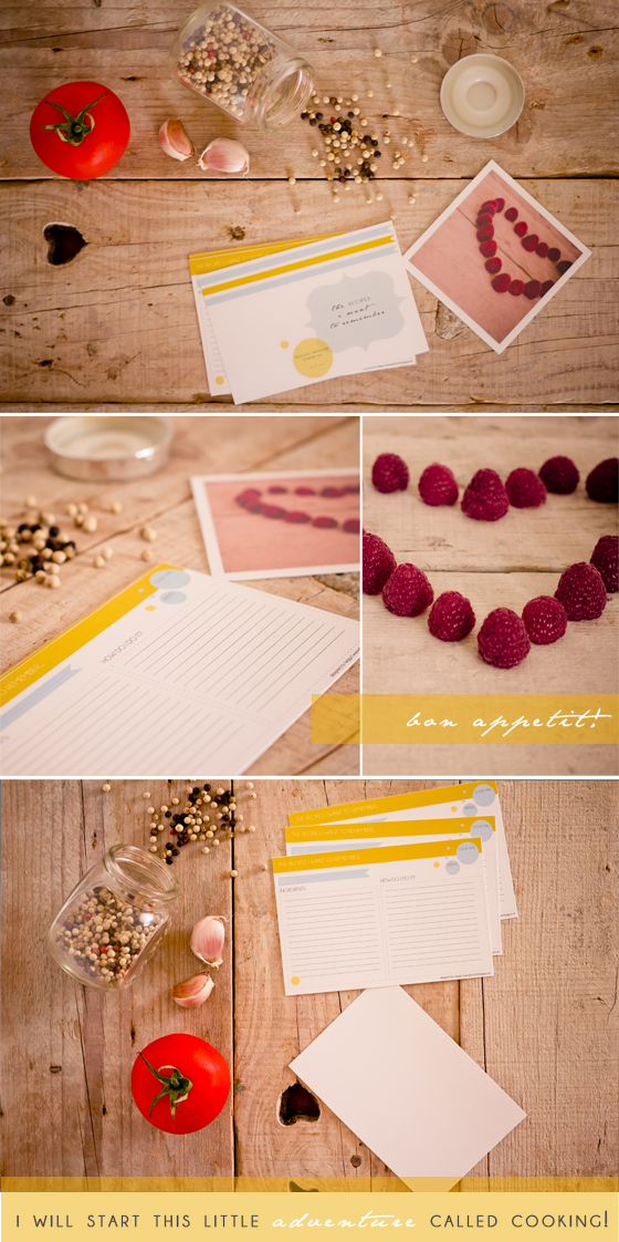 DIY printable recipe cards in yellow and blue (via www.aplacefortwiggs.com)