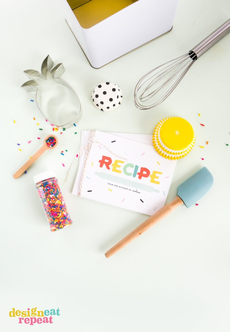 DIY confetti recipe cards (via www.designeatrepeat.com)