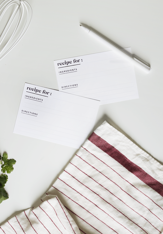 DIY printable minimalist recipe cards (via almostmakesperfect.com)