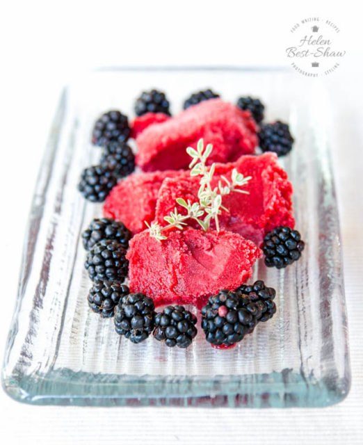 DIY blackberry apple thyme sorbet (via fussfreeflavours.com)