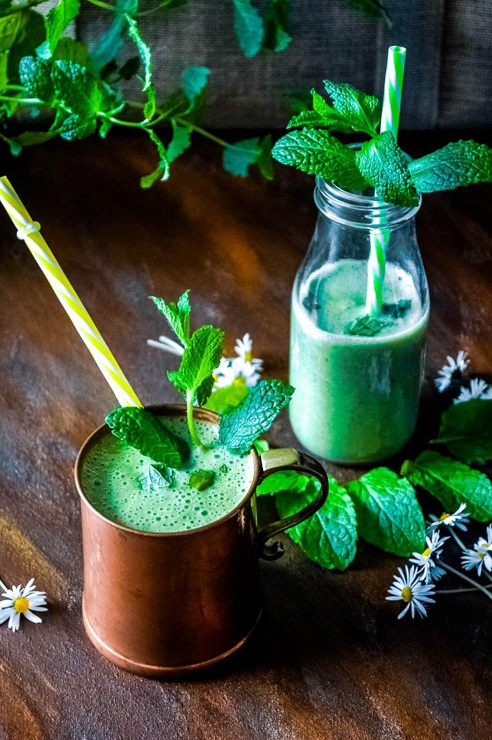 DIY refreshing mint smoothie (via splashofflavours.com)