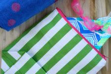 DIY striped wet swimsuit bag