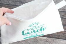 DIY sea-inspired wet bathing suit bag