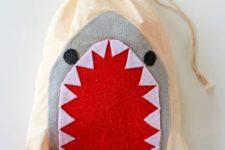 DIY shark bathing suit bag