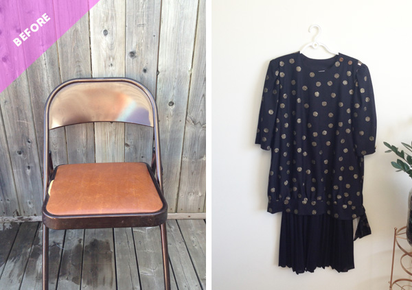 DIY old folding chair renovation with fabric from an old dress (via thesweetescape.ca)