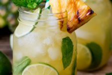 DIY pineapple ginger mojito with rum
