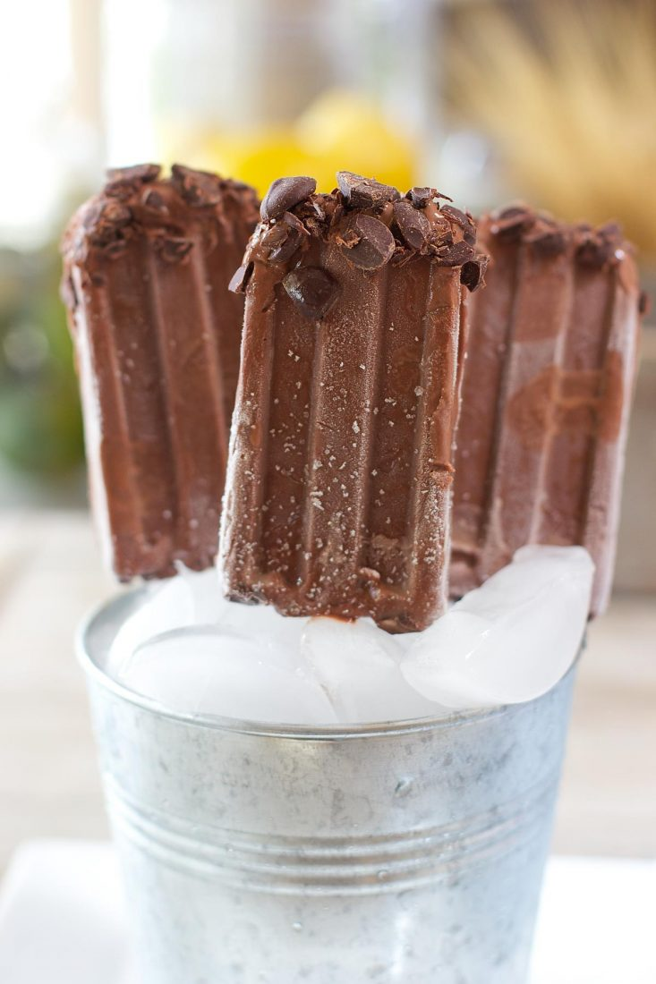 DIY dark chocolate fudgesicles (via laughingspatula.com)
