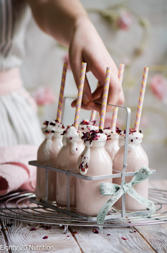 DIY raspberry and rose milkshake (via eighty20nutrition.com)