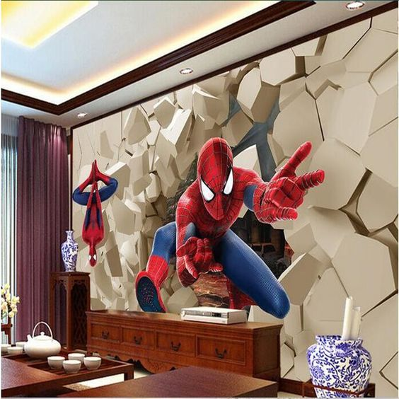 3D oversized wallpaper mural for an adult space to feel a superhero