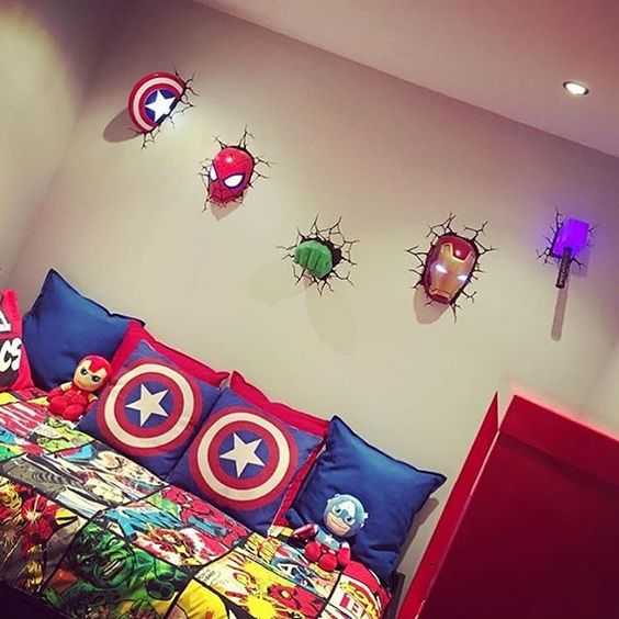 a gorgeous 3D wall art inspired by Avengers for a boy's bedroom