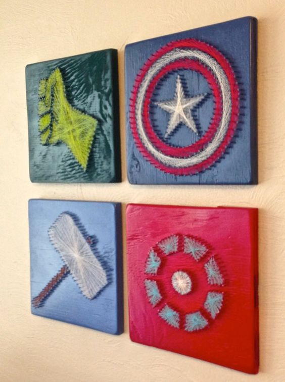 Avengers string wall art hangings look bold and chic